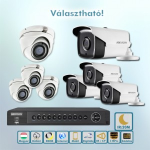 Brill Hikvision 3MP Full HD 20m éjjellátó HD-TVI kamera rendszer