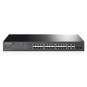 TP-Link T1500-28PCT PoE Switch (L2 menedzsment; 10/100Mbps 24port + 4port Gigabit + 2 port combo SFP, 24 PoE+ port, 180W