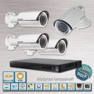 SLIM PACK - Viking Hikvision varifokális motoros 2,1MP IP kamera rendszer