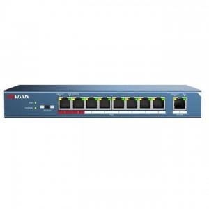 Hikvision DS-3E0109P-E PoE switch, 10/100, 8x PoE(123W) + 1x uplink port, L2, nem menedzselhető