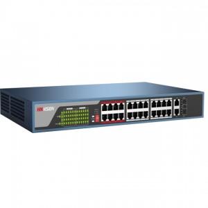 Hikvision DS-3E0326P-E PoE switch, 24x 10/100 PoE(370W) + 2x gigabit combo port, L2, nem menedzselhető