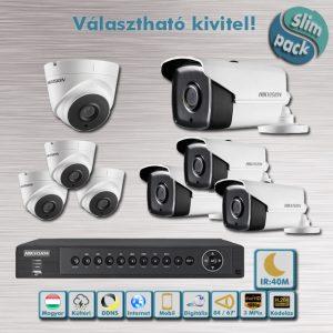 SLIM PACK - Sötét harcos Hikvision 3MP Full HD 40m éjjellátó HD-TVI kamera rendszer