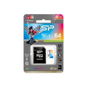 Silicon Power MicroSD kártya Adapterrel XC UHS-1 64GB Elite, Színes